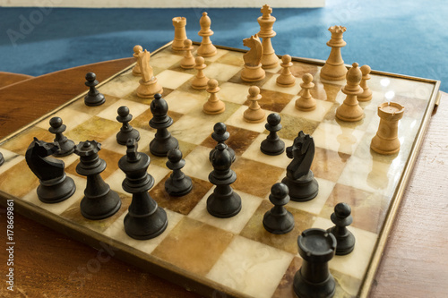 Fotografie, Tablou chess, chessboard, wood chess pieces