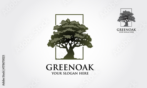 Fotografie, Tablou Green Oak Vector Logo template