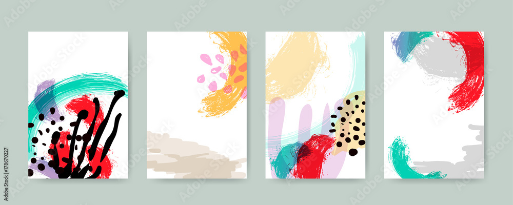 Fototapety, obrazy: Abstract trendy illustration background, placard, style flat and 3d design elements. Unique art for covers, banners, flyers and posters.