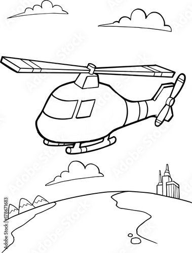 Wall Murals Cartoon draw Cute Helicopter Vector Illustration Art