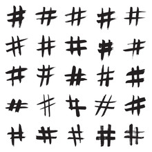 Hashtag Signs. Number Sign, Hash, Or Pound Sign. Collection Of 25 Black Hand Painted Signs Isolated On A White Background. Vector Illustration