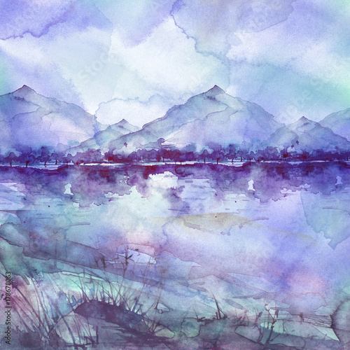 Tuinposter Purper Watercolor mountain landscape, blue, purple mountains, peak, forest silhouette, reflection in the river. Wild grass, highlands, branches, flowers. Watercolor landscape, painting.