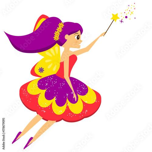 Fototapeta Pięknej latającej czarodziejki łopotania magiczna różdżka. Elf księżniczka. Styl kreskówki