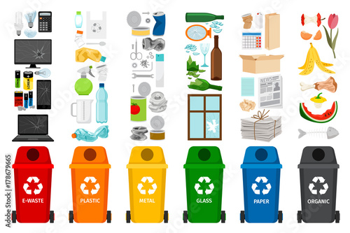 Fototapety, obrazy: Garbage containers and types of trash
