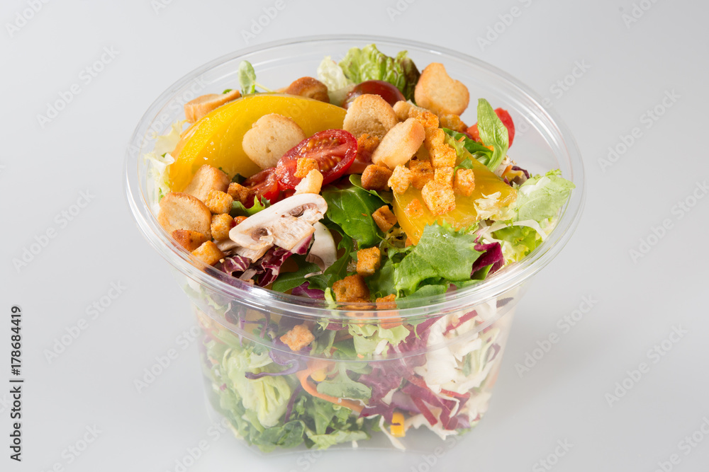 Photo Art Print Fresh Salad Cup Container On White