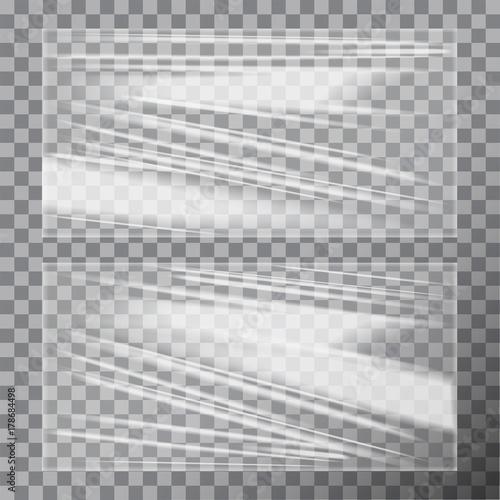Fotografía  Transparent Glossy Polyethylene Plastic Warp. Vector template set