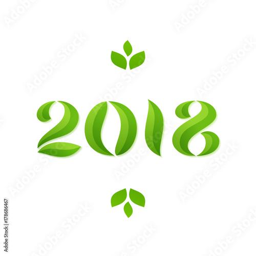 Fototapeta Happy new year 2018 eco leaves greeting card design obraz na płótnie