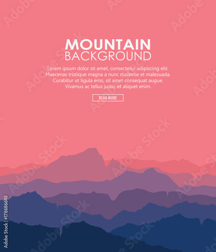 Fototapeta Landscape with blue and purple silhouettes of mountains and hills with beautiful red evening sky. Huge mountain range silhouettes in twilight. Vector vertical illustration. obraz na płótnie