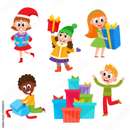 Set Of Cute Little Kids, Children Holding And Opening