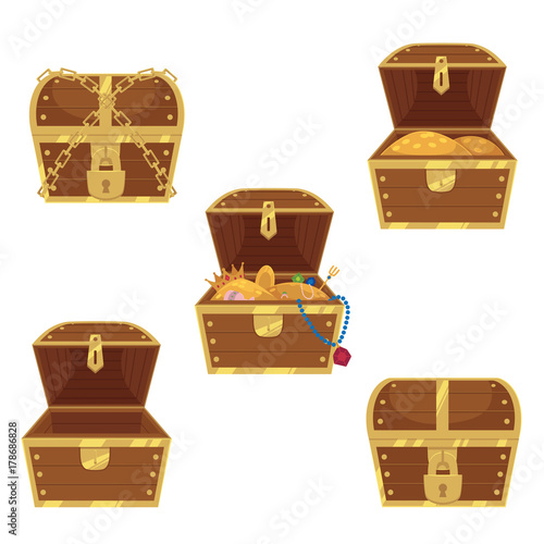 Fototapeta Open and closed pirate treasure chests, locked, empty, full of gold and jewelry, flat style cartoon vector illustration isolated on white background