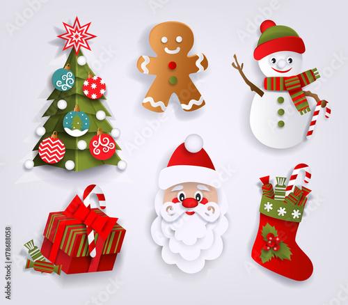 Christmas Tree Decoration Elements: Paper Cut Set Of Christmas Decoration Elements