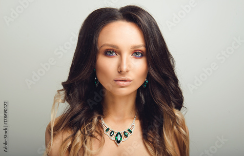 Fotografie, Obraz  Studio Portrait of Beautiful Model with Long Curly Ombre Hair