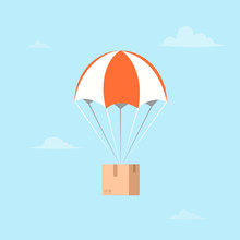 Package Flying On Parachute. Air Shipping.