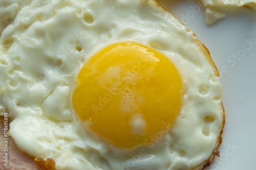 Delicious Breakfast - white plate with fried egg, close-up