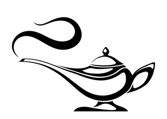 Vector black silhouette of an Arabic genie lamp isolated on a white background.