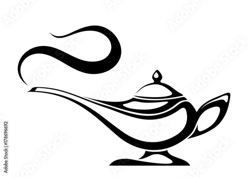 Stampa su Tela  Vector black silhouette of an Arabic genie lamp isolated on a white background