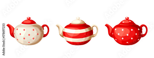 Obraz na plátně Vector set of three red and white porcelain teapots isolated on a white background