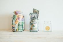 Money In Jar Euro Dollars Bitc...