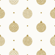 Seamless Christmas Background - Glitter Gold Patterned Christmas Baubles. Vector Illustration.