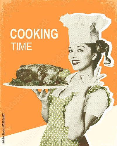 Kobieta szef kuchni i pieczony kurczak. Retro plakat na starym papierowym tle dla teksta