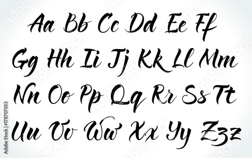 brushpen lettering vector alphabet modern calligraphy handwritten