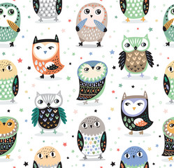 Fototapeta Do przedszkola Vector seamless pattern with cartoon owls. Nursery decor