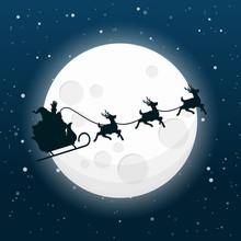 Santa Claus Silhouette Driving...