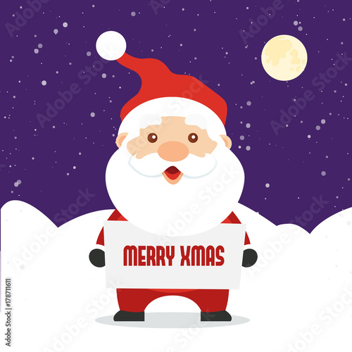 Santa Claus holding sign with text \