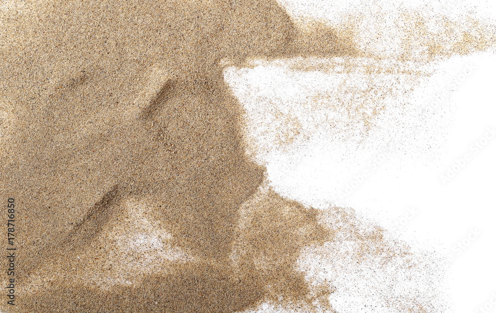 Fototapeta Pile desert sand isolated on white background, top view