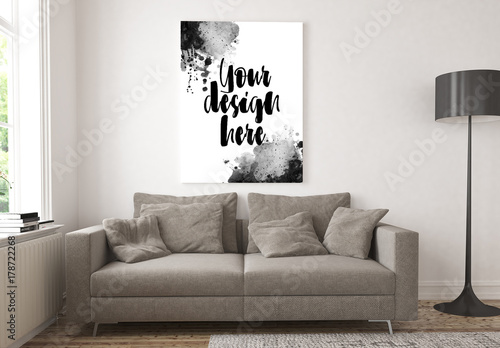 Poster In Living Room Mockup