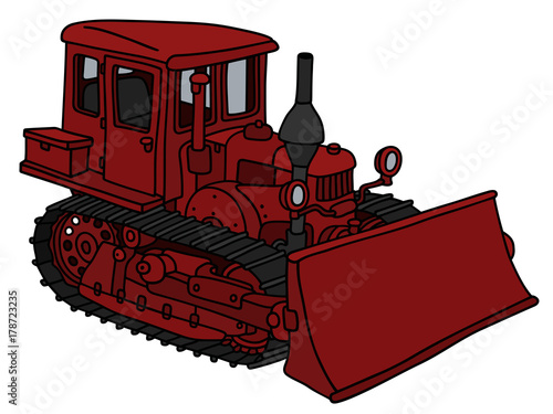 Old dark red bulldozer Canvas-taulu