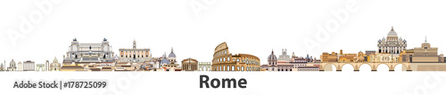 Rome vector city skyline Wallpaper Mural