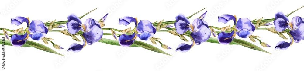 Fototapeta Gerland from iris flowers. Isolated on white background.