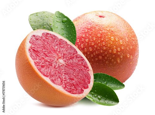grapefruits with water drops isolated on a white background
