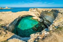 The Famous Grotta Della Poesia, Province Of Lecce, In The Salento Region Of Puglia, Southern Italy.