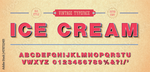 Fotografie, Obraz  Vector of retro font and alphabet. 3d style