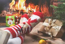 Little Girl Near Fireplace Is ...