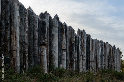 Wooden fence of thick logs Canvas Print