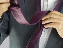 Tying Red Tie, Hands, White Sh...