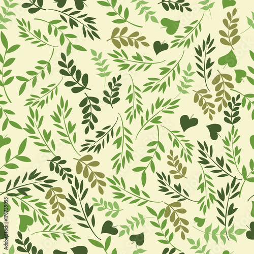 Fototapety, obrazy: Beautiful seamless pattern with green leaves. Perfect background greeting cards, invitations to the wedding and other seasonal holidays, fabric