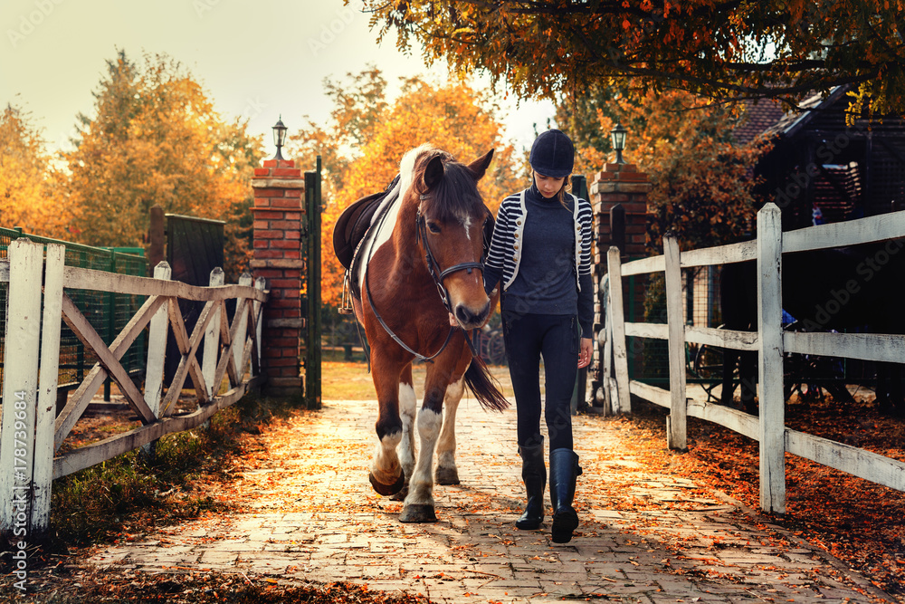 Fototapety, obrazy: Teenage girl with her horse in front of a stable