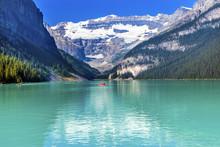 Lake Louise Canoes Snow Mounta...
