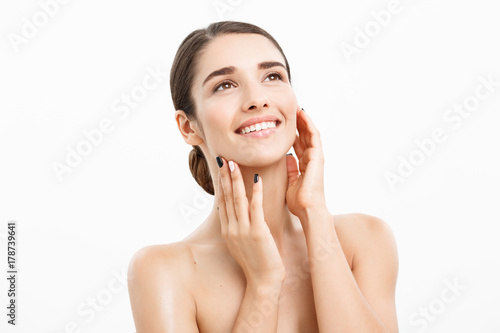 Fototapety, obrazy: Beauty and spa concept - Charming young woman with perfect clear skin over white background.