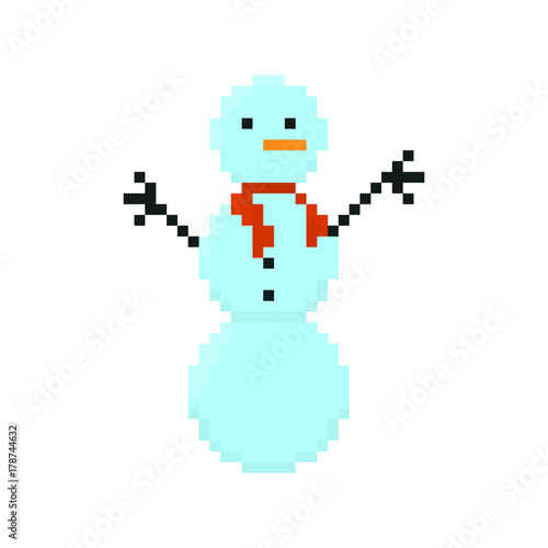 Foto op Aluminium Pixel Pixel character snowman for games and applications