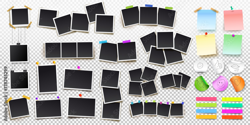 Fototapeta Big set of square vector photo frames on sticky tape, pins and rivets, and office paper sheets or sticky stickers with shadow. Vector illustration. Isolated on transparent background - obraz na płótnie