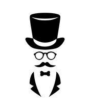 Vector Black On White Illustration. Gentleman