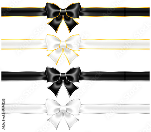 White and black bows with gold and silver edging and ribbons