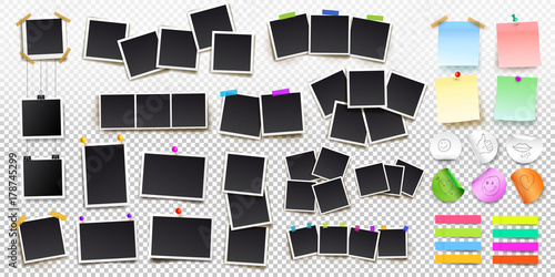Fototapeta Big set of square vector photo frames on sticky tape, pins and rivets, and office paper sheets or sticky stickers with shadow. Vector illustration. Isolated on transparent background obraz na płótnie