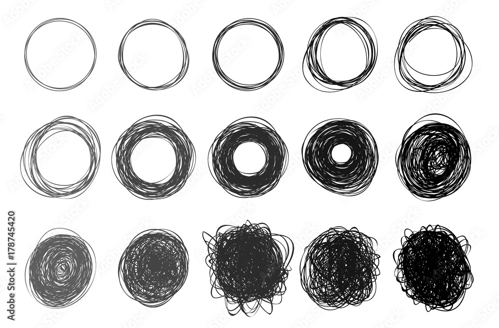 Fototapety, obrazy: Set of hand drawn circles using sketch drawing scribble circle lines. Freehand drawing. Doodle circular logo elements. Vector illustration. Isolated on white background