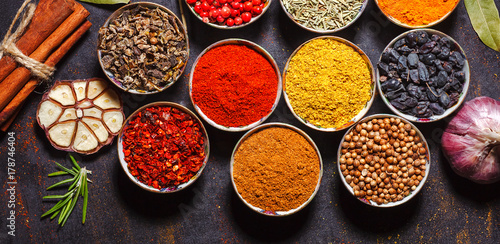 Canvas Prints Spices Different spices in bowls on table